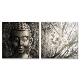MFZ-0033 Juego de 2 Cuadros Zen con Buda y Flores PLATEADO