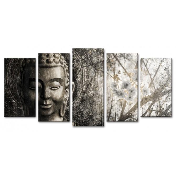 XL05-MFZ-0033 Cuadro Zen con Buda y Flores PLATEADO