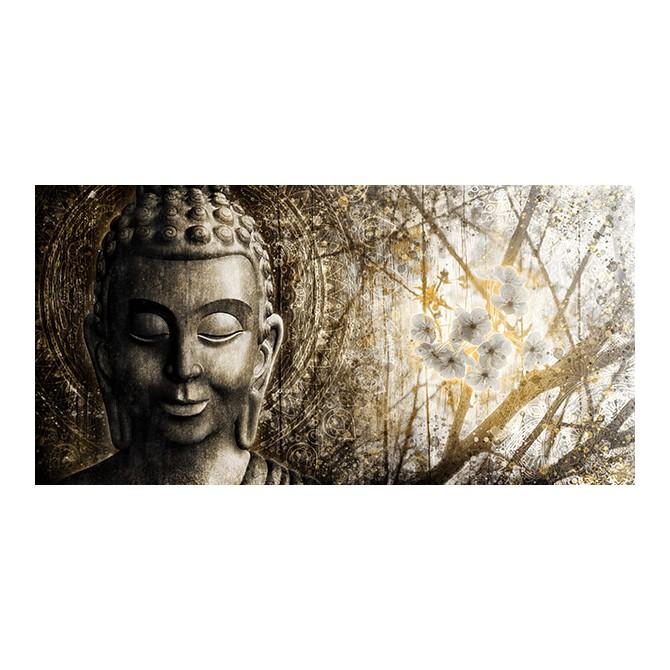MFZ-0034 Cuadro Zen con Buda y Flores DORADO