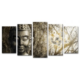 XL05-MFZ-0034 Cuadro Zen con Buda y Flores DORADO