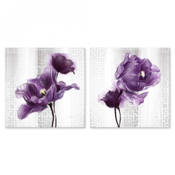 Conjunto de 2 Cuadros con Tulipanes Lilas