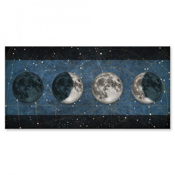 Cuadro Fases de la Luna AZUL con barras NEGRO