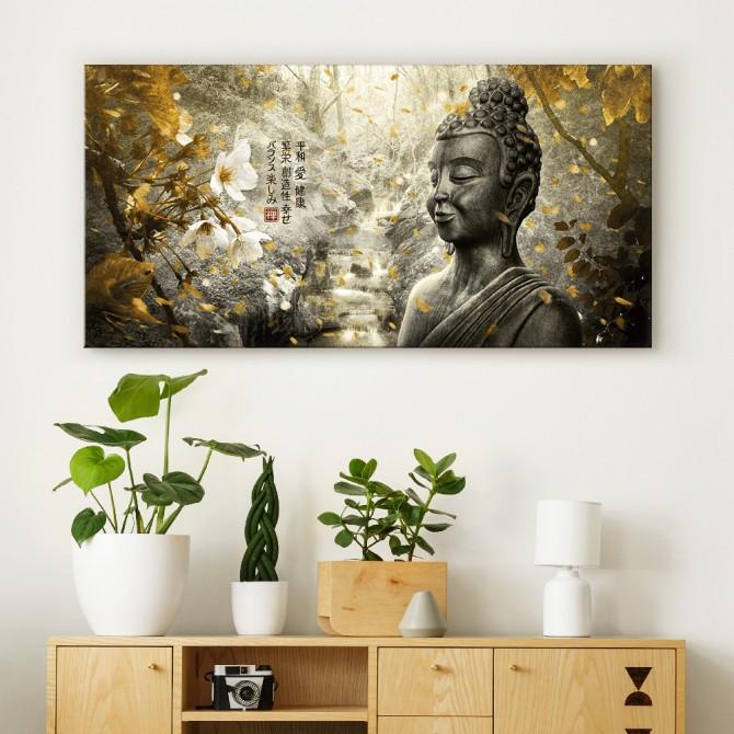 MFZ-0002 Cuadro Paisaje Zen con Buda y Flores - DORADO Y PLATA