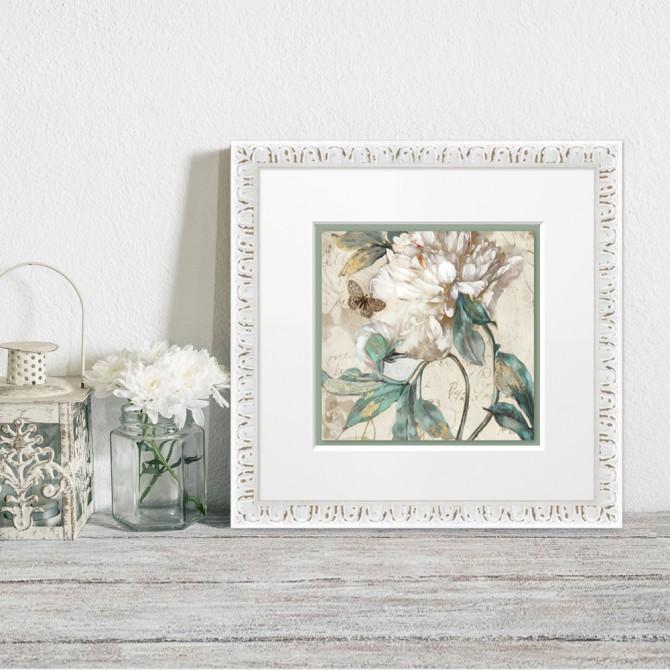 Cuadro con marco blanco y lámina de flores