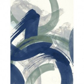 Navy Brushy Abstract II