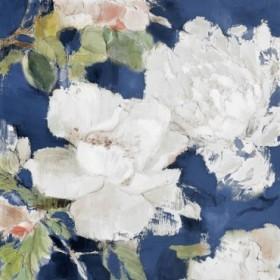 White Modern Peonies on Blue II