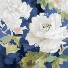 White Modern Peonies on Blue I