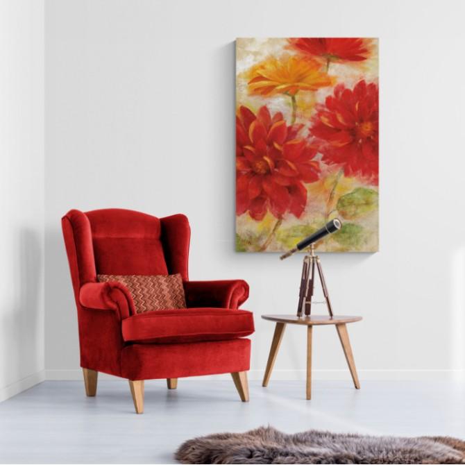 Cuadro grande Red Floral II
