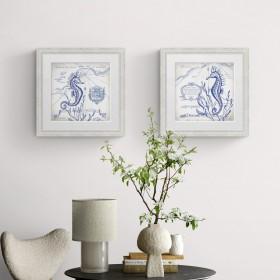 Conjunto de 2 cuadros con marco blanco y lámina vintage