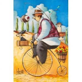 Man on Bicycle w/Cupcake