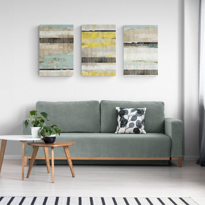 Juego de 3 Lienzos Abstractos Celadon Dreams