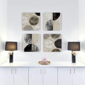 Juego de 4 cuadros abstracto cuadrados -New Balance