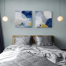 Juego de 2 cuadros abstractos - Blue Bubbles I-II
