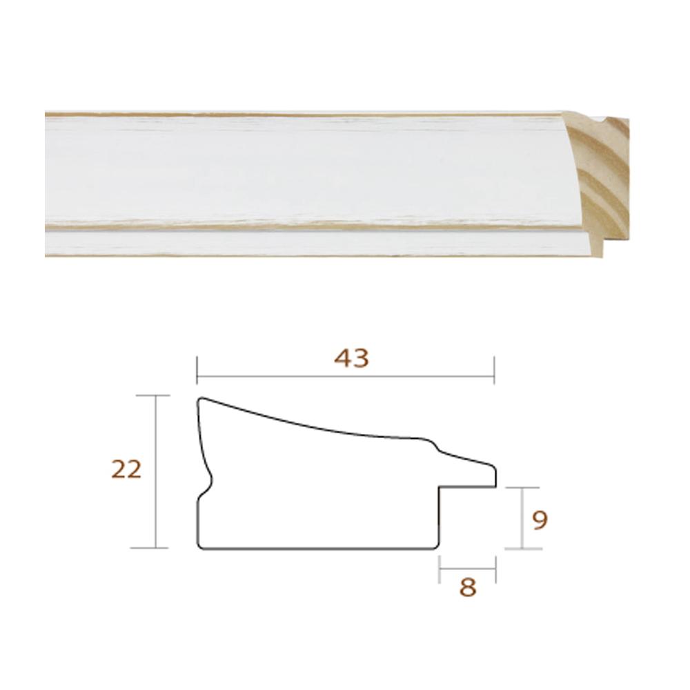 Marco cláscio de madera de color balnco