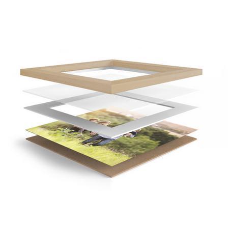 Cuadro con marco madera tono claro y lámina BAB-292
